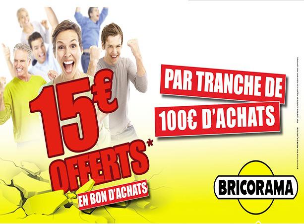 10€ en bons d'achat par tranche de 50€ ou 15€ par tranche de 100€ d'achat