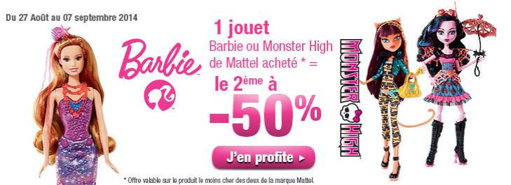 1 jouet Barbie ou Monster High de Mattel acheté = le 2ème à -50%