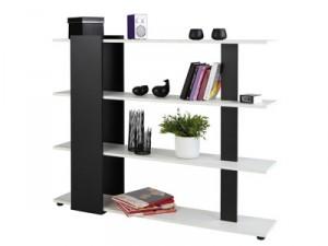Meuble de séparation/étagère AXEL coloris noir et blanc