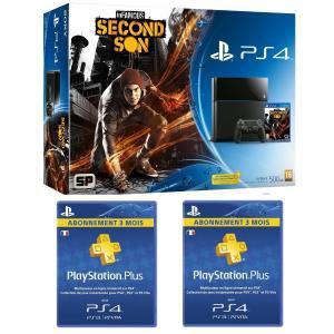 Pack Console PS4 + Infamous Second Son + 2 abonnements PS+ 3 mois