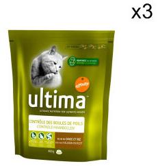 Alimentation pour Chien et Chat en promotion - Ex : Lot de 3 packs de croquettes Ultima 400g pour Chat