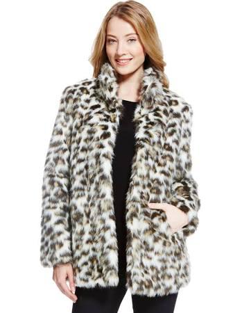 Manteau en fausse fourrure à imprimé animal