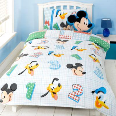 Parure de lit une place et coussin Mickey Mouse