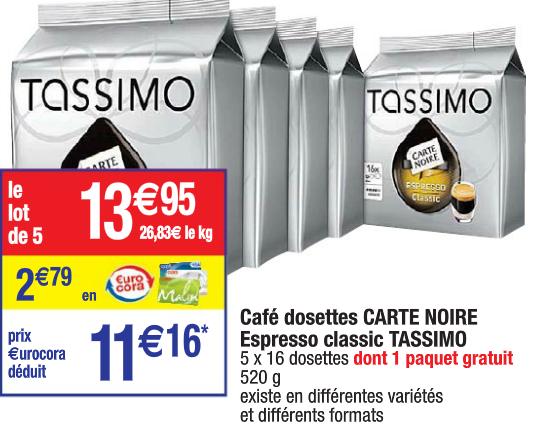 5 paquets de Tdiscs Tassimo divers parfums (2.79€ sur la carte)