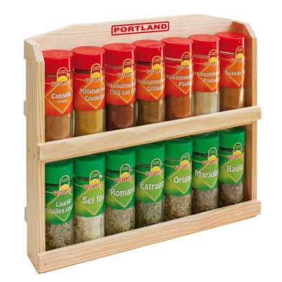 14 flacons d'épices avec étagère en bois