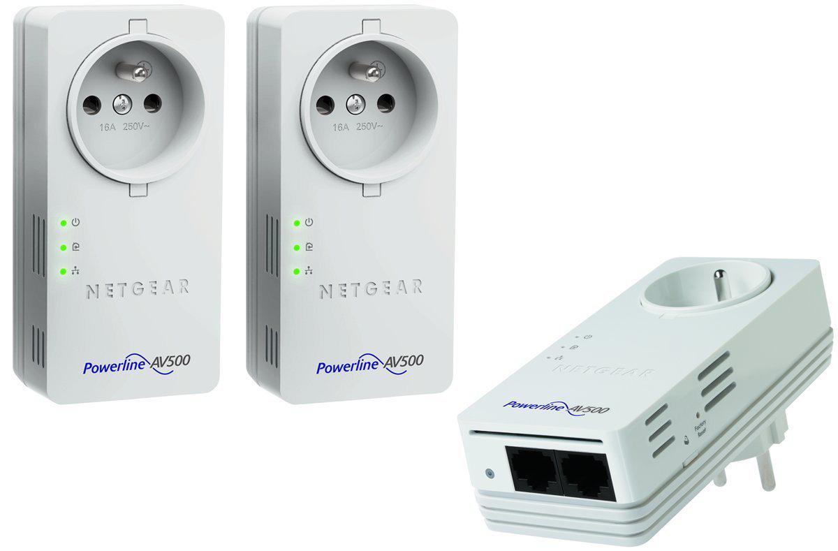 Pack de 3 CPL Netgear XAVT5602 500Mbps avec prise femelle intégrée 2 ports Ethernet