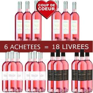 Sélection de vins en promo - Ex : Vin rosé du Languedoc  6 bouteilles achetées, 18 livrées