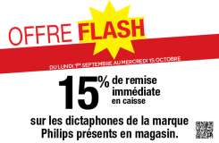 15% de remise immédiate sur les dictaphones de la marque Philips et sur une sélection de friteuses Actifry