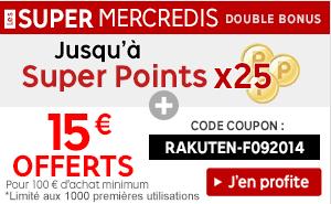 15€ offerts dès 100€ d'achat