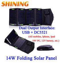 Chargeur Solaire Pliable Shining étanche [14Watts Double sortie 18V et 5.5V].