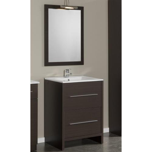 Meuble de salle de bain Wengue/Blanc 60cm avec miroir et lampe (Valeur 74,90) 100% remboursé en bons d'achat