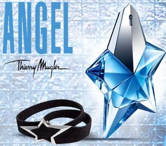 Une eau de parfum Angel de Thierry Mugler (25 ml) et son bracelet en cuir