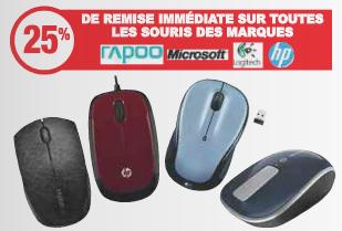 25% de réduction immédiate sur les souris de marque Logitech, HP, Microsoft et Rapoo