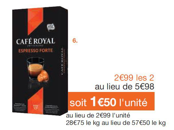 Capsules compatibles Nespresso Café royal à 0,15€ l'unité