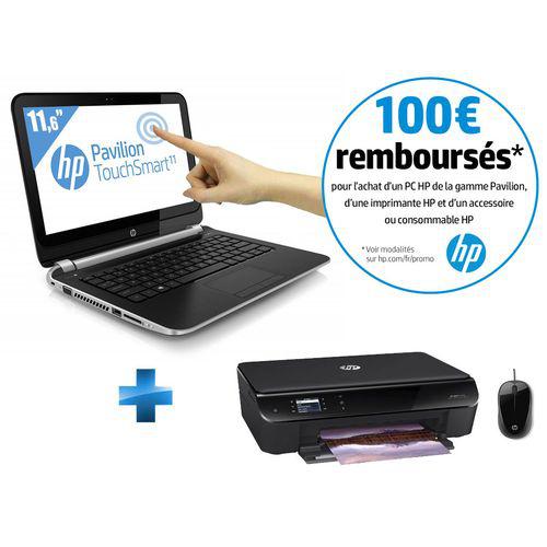 "Pack PC portable HP tactile 11"" +  imprimante wifi multifonction + souris (100€ ODR)"