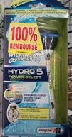 Wilkinson  Hydro 5 et/ou Hydro 5 Power select 100% remboursé