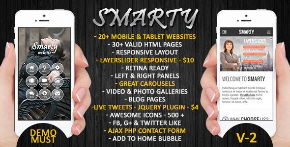 Canevas de site pour smartphone et tablettes Smarty gratuit (au lieu de 7.68€)