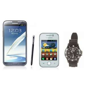 Smartphone Samsung Galaxy Note 2 + Samsung Galaxy Y + Montre quartz
