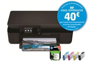 Imprimante multifonction 3 en 1 Wi-Fi HP PhotoSmart 5520 + Pack de 4 cartouches HP364 avec ODR (40€)