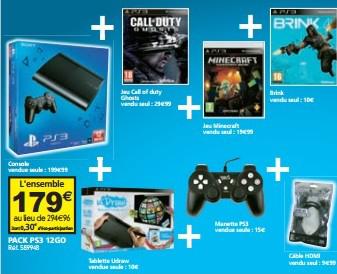 Pack console PS3 12Go + 3 Jeux + Tablette UDraw + Une Manette + Un Câble HDMI
