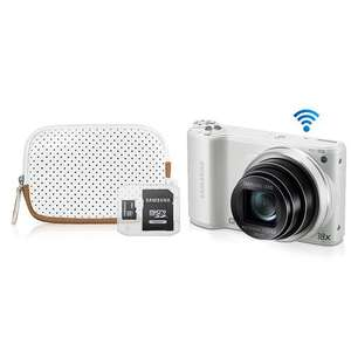 Appareil photo numérique Samsung WB252F Blanc + Housse + Carte Micro SD 4Go