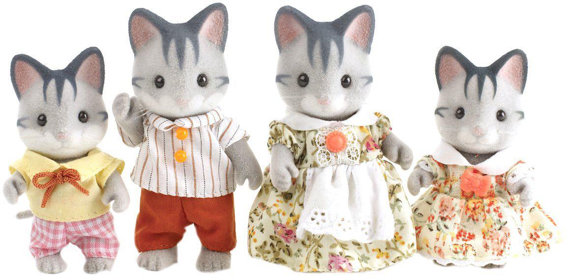 4 petites poupées Sylvanian Families - Famille Chat gris