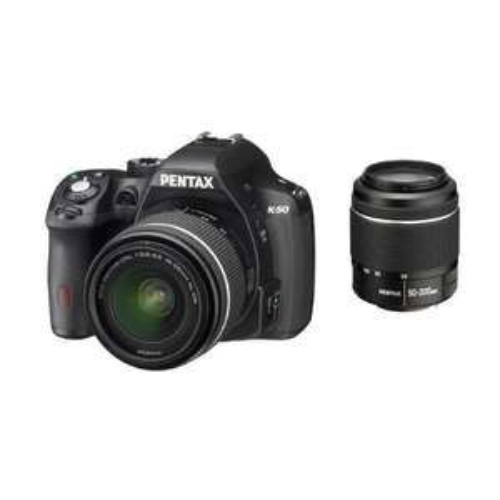 Reflex numérique Pentax K50 16 Mpix + Objectif DAL 18-55 mm WR & DAL 50-200 mm Noir