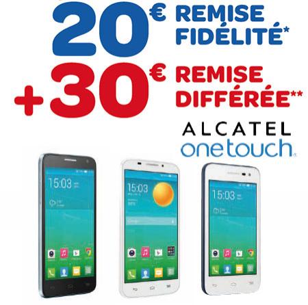 20€ de remise Fidélité + 30€ de remise différée sur une sélection de smartphones Alcatel