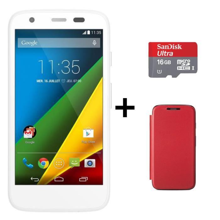 Smartphone Motorola Moto G 8GB 4G Blanc + CarteSD 16Go + Etui