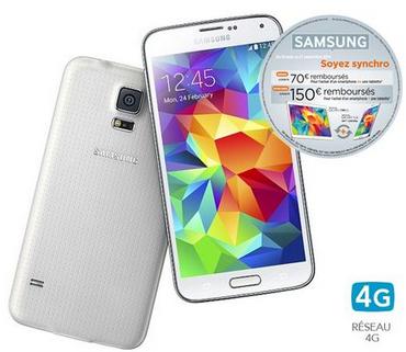 Smartphone Samsung Galaxy S5 (avec ODR 70€)