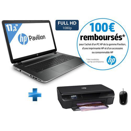 Pack PC portable HP Pavilion 17-f084nf + imprimante + souris (100€ ODR)