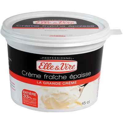 Crème fraîche entière épaisse Elle & Vire 33% MG - 45 cl