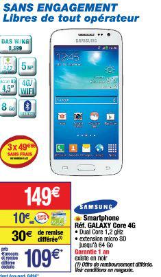Smartphone Samsung Galaxy Core 4G (Avec ODR de 30€)