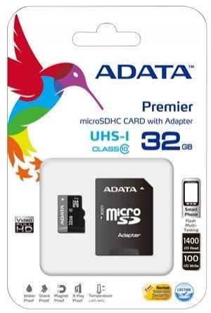 Carte mémoire micro SD HC Adata Turbo classe 10 UHS-1 - 32 Go avec lecteur usb fournis