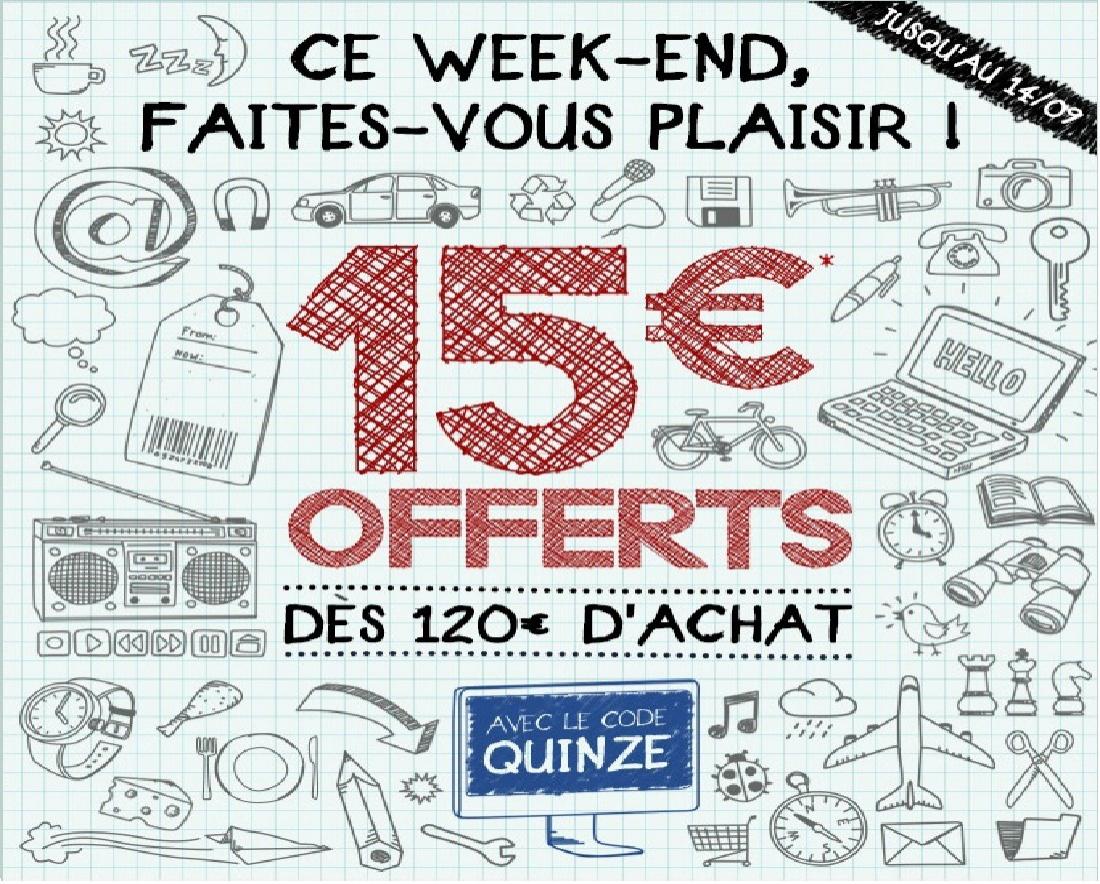 15€ offerts dès 120€ d'achat sur tout le site