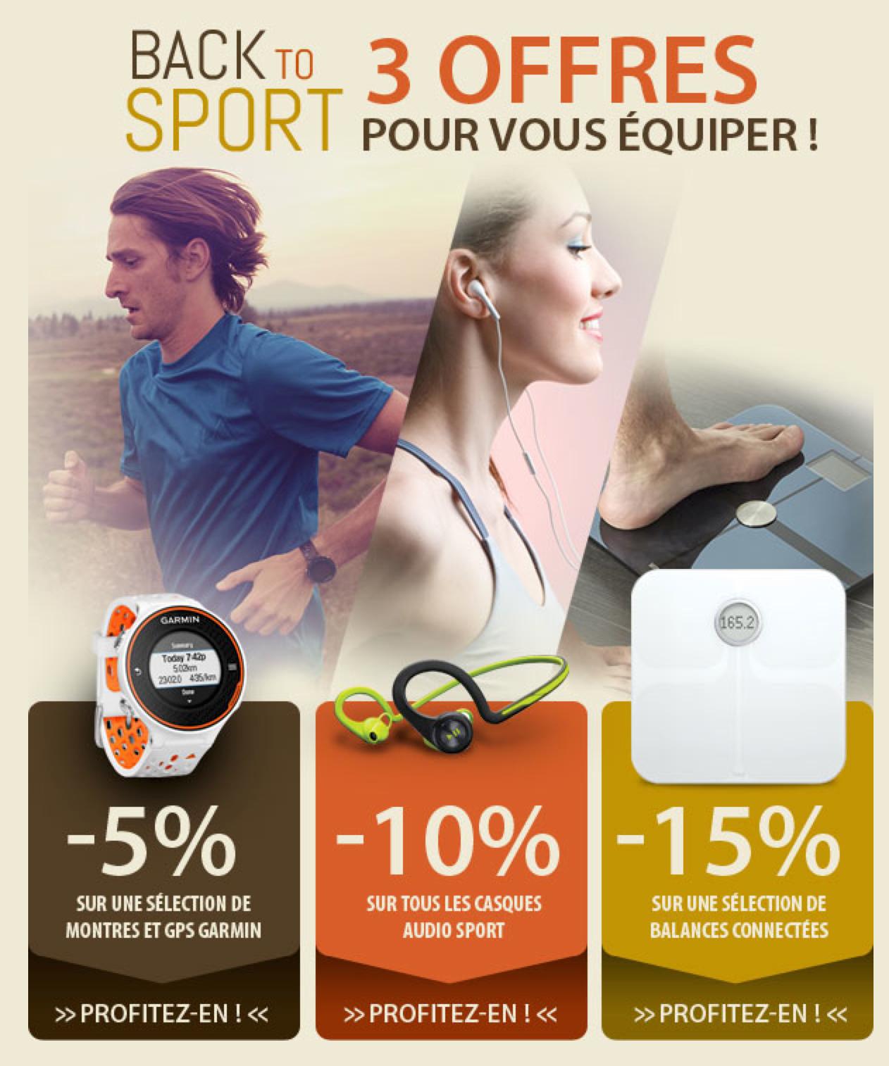 Back to Sport : -10% sur tous les casques sport, -5% sur* les montres et GPS Garmin, -15% sur* balances connectées