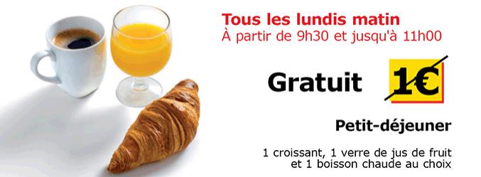 petit déjeuner gratuit le lundi matin