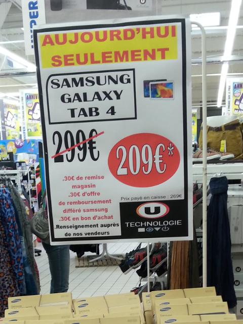 """Tablette Samsung Galaxy Tab 4 10.1"""" (30€ ODR + 30€ en bons d'achats U)"""