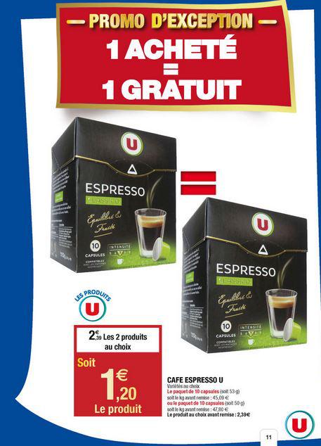 2 boîtes de 10 capsules espresso compatibles Nespresso