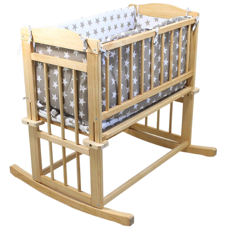 Berceau bébé en bois + tour de lit / linge de lit + roulettes ou mode bascule