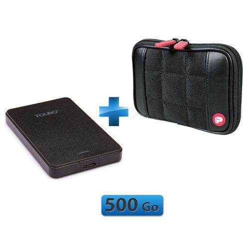 Pack disque dur externe Hitachi 3.0 - 500Go + Housse