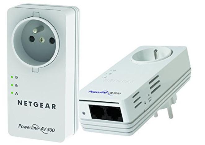 Pack de 2 adaptateurs CPL 500 Netgear XAVB5602 avec prise électrique femelle
