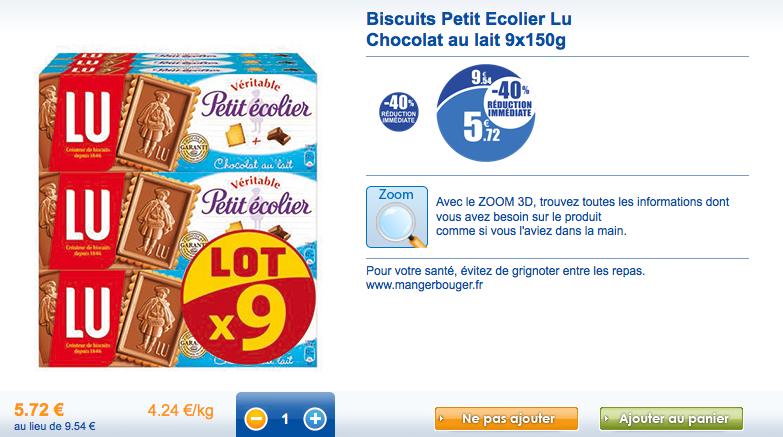 Lot de  9 paquets de biscuits Petit Ecolier