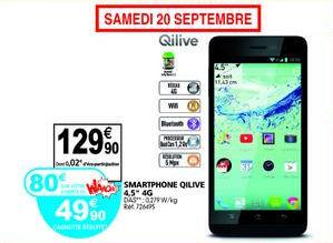 """Smartphone 4,5"""" Qilive 4G (avec 80 € sur le compte fidélité Waooh!)"""