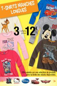 3 t-shirts Disney, Monster High... au choix parmi une sélection