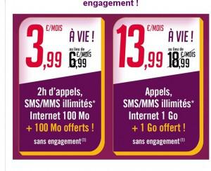 Forfait mobile (2h / SMS & MMS / 200 Mo) à 3.99€ par mois et Ilimité (2 Go)