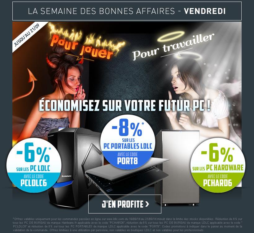 6% de réduction sur les PC de bureau LDLC et Hardware.fr / 8% de réduction sur les PC portables LDLC