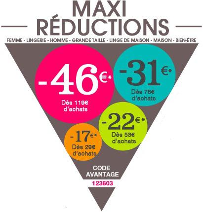 46€ de réduction dès 119€ d'achats, 31€ dès 76€, 22€ dès 53€, et 17€ dès 29€