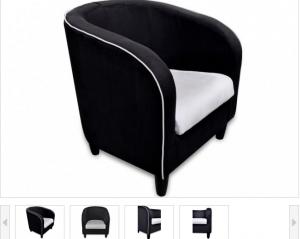 Luna - Fauteuil Cabriolet Microfibre (Noir et Blanc ou Rouge et noir ou  Noir)