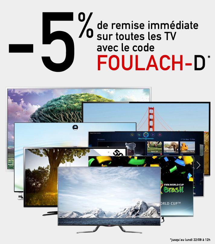 5% de réduction sur toutes les TV